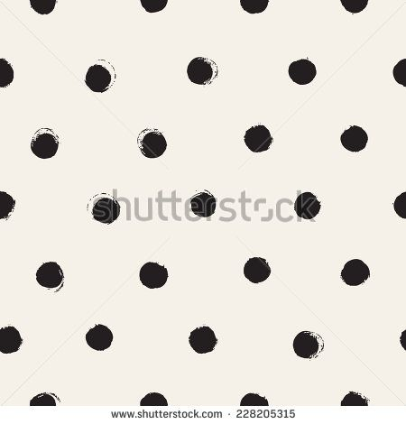 Vector seamless pattern. Abstract background with round brush strokes. Monochrome hand drawn texture. Stylish polka dot
