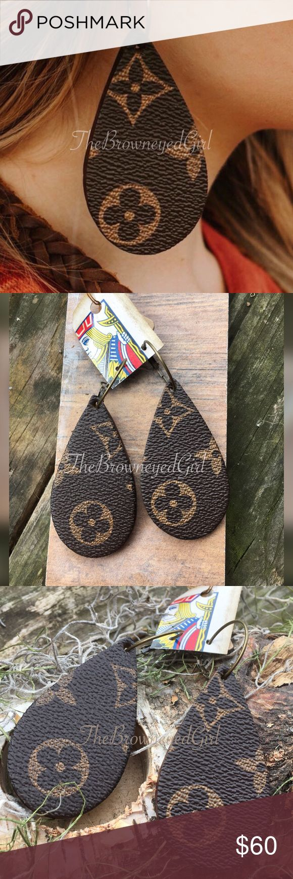 """Authentic Lv repurposed Earrings Authentic Louise Vuitton repurposed leather Tear drop earrings Cut with precision.  Size 3""""  Thick leather light weight  I'm only selling 1 pair keeping the rest for now.  First come first serve NO trades OR HOLDS  PRICE FIRM!! Jewelry Earrings"""