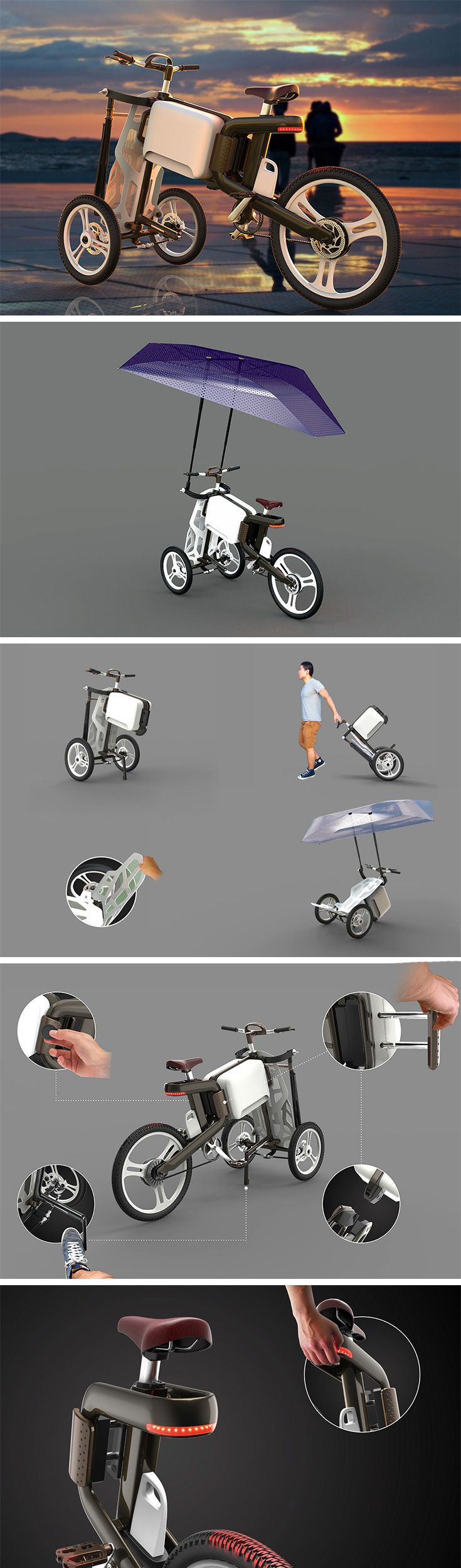 The Solectrike comes in two parts that become a tricycle when joined, allowing you to ride around the city in style, absorbing the view in a completely open way. The trike can be split back into two components, the bike, and the trolley. The bike can then be locked to any standard bike stand, while the tourist can wheel around the trolley that comes with its own compartment for your money, camera, passport and whatnot! So much better than taking an Uber to sightsee!