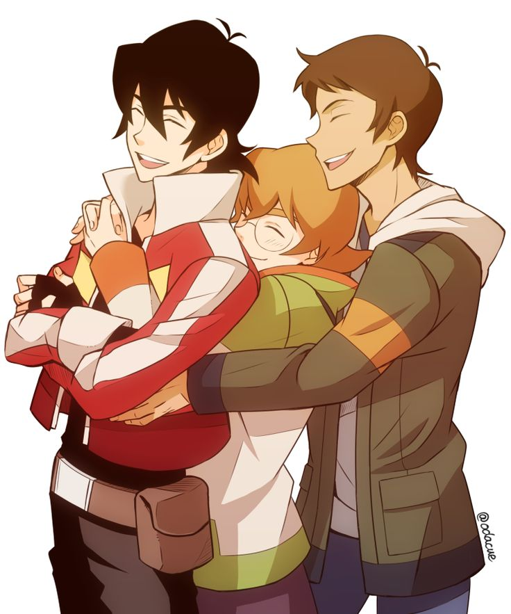 Keith, Pidge and Lance group hug from Voltron Legendary Defender