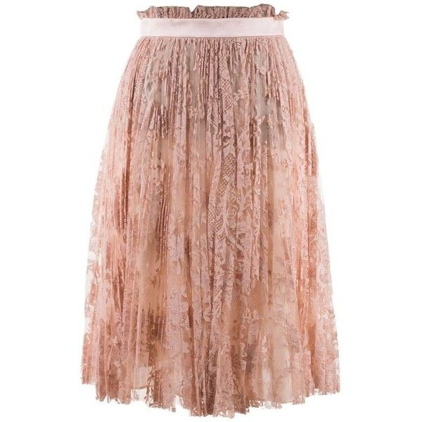 Preowned Alexander Mcqueen Womens Pink Pleated Floral Lace Skirt ($1,450) ❤ liked on Polyvore featuring skirts, circle skirts, pink, floral skirt, beige maxi skirt, pleated maxi skirts, floral pleated skirt and long lace skirt