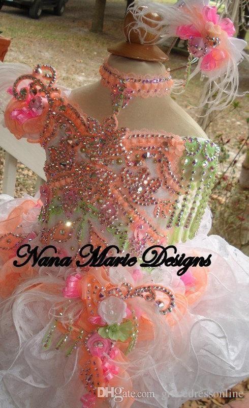 2015 de linda bata de pelota chica Glitz desfile Vestidos Cuentas Cristales Flores plumas Organza Vestidos Floristas magdalena Vestidos