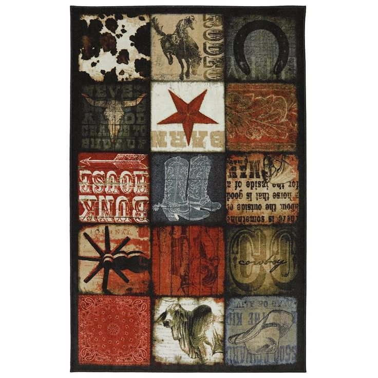 Cowboy Patches Multi 8 ft. x 10 ft. Area Rug