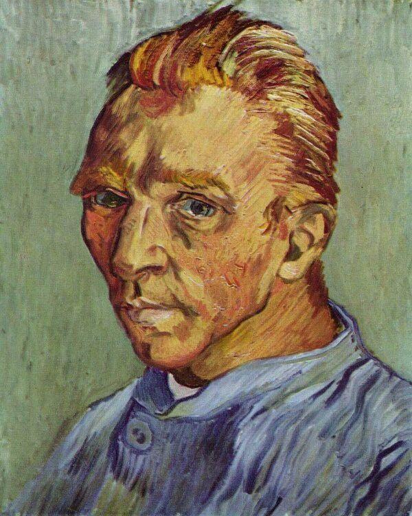 Retrato do artista sem barba, de Vincent Van Gogh, 1889Os auto-retratos sempre foram uma constante de Van Gogh. Existem inúmeros quadros imortalizados pelo artista com a sua imagem. Este data de finais de Setembro de 1889 e foi pintado logo após ter feito a barba. Nesse mesmo ano, cortou parte da orelha numa das suas manifestações de grave depressão, que o levaria a suicidar-se mais tarde.