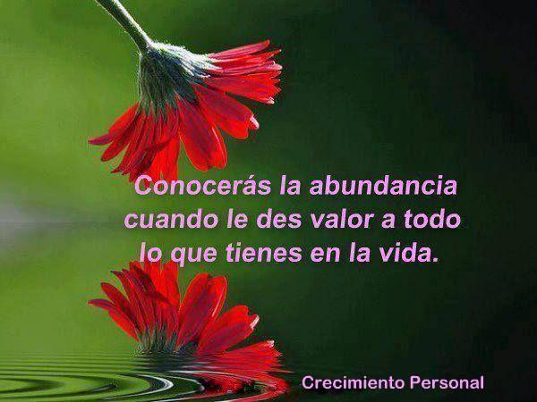 ... Conocerás la abundancia cuando le des valor a todo lo que tienes en la vida.