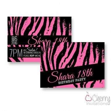 Funky Pink Zebra Themed Double Sided Personalised Birthday Invitations - From as little as £0.41 per card - Including free envelopes and delivery on all orders!