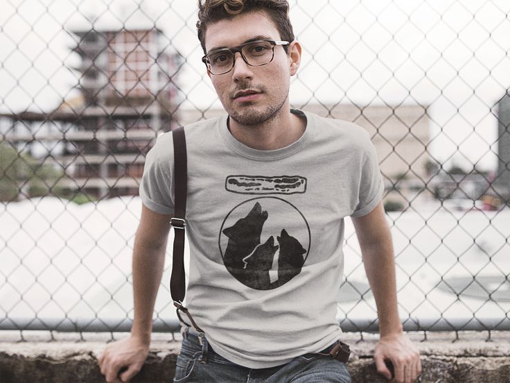 Funny Canvas Triblend Tee for Guys - Three Wolf Moon Howl Bacon