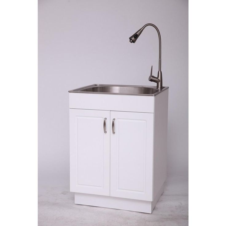 Glacier Bay All-in-One 24.2 in. x 21.35 in. x 33.85 in. Stainless Steel Laundry Sink with Faucet and Storage Cabinet, Glossy Pvc Lamination