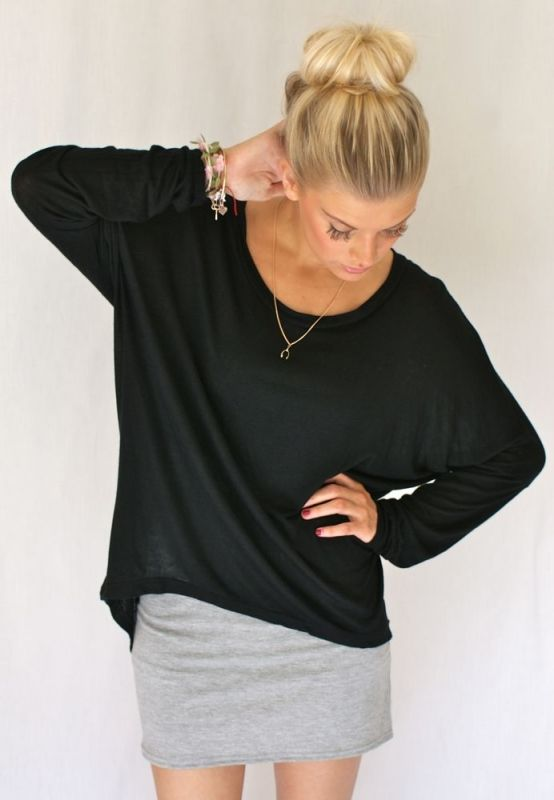 I adore a baggy shirt with a tight fitting skirt. Wear it like you mean it without looking like you tried.