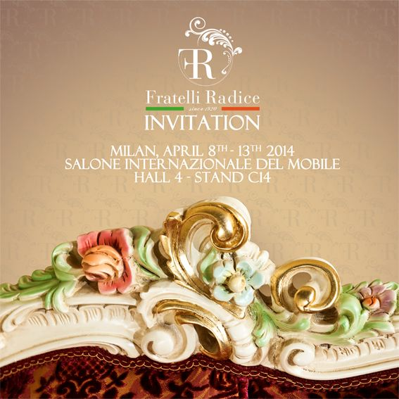 SALONE INTERNAZIONALE DEL MOBILE April 8th - 13th 2014 We will be pleased to welcome you in our stand at the Milan International Furniture Exhibition Hall 4 - Stand C14   #FratelliRadice #isaloni2014 #salonedelmobile2014