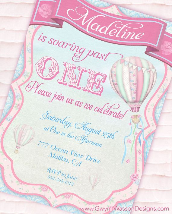 Hot Air Balloon Party Invitation - Up, Up and Away Shabby Chic Collection - Gwynn Wasson Designs PRINTABLES