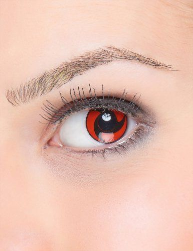 Lentes de contacto fantasía hélice negro sobre fondo rojo
