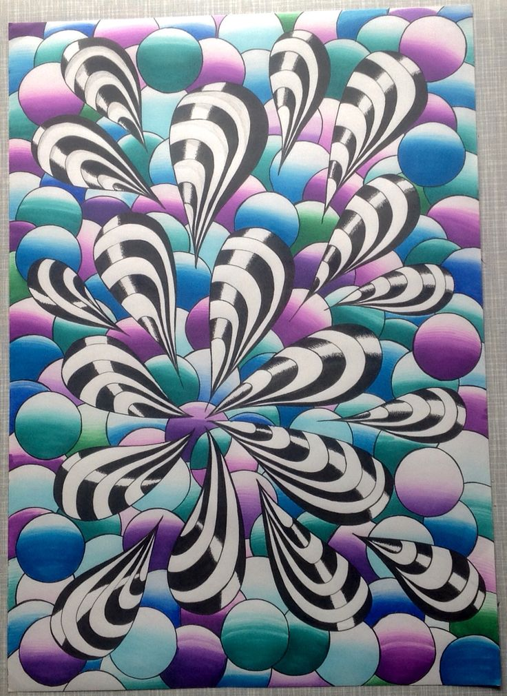 A3 Wall Art With Chameleon Pens By Ina Zentangle