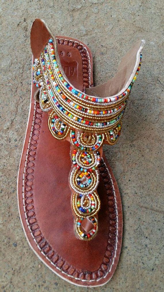 changa maasai sandals tribal sandals / beaded sandals / leather sandals