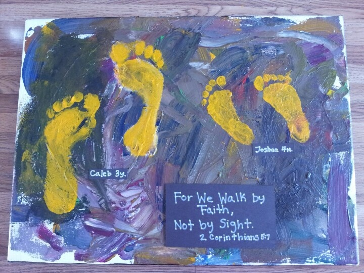 Bible verse footprints. Paint on a old canvas. Let it dry ...