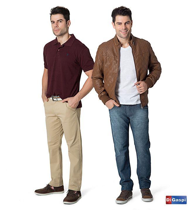 Cores clássicas   polo - calça sarja nude - cinto masculino - bota - jaqueta marrom - calça jeans - bota masculina  