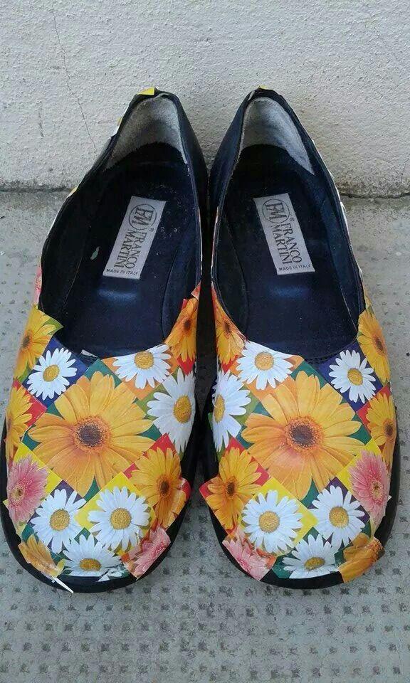 Decoupage su scarpe ( lavoro ancora da terminare )