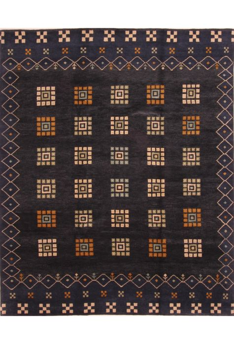Gabbeh Indian rug. Wool. Hand Knotted. 249 x 302 http://www.rugman.com/indian-gabbeh-design-oriental-area-rug-large-size-wool-blue-rectangle-253-25819
