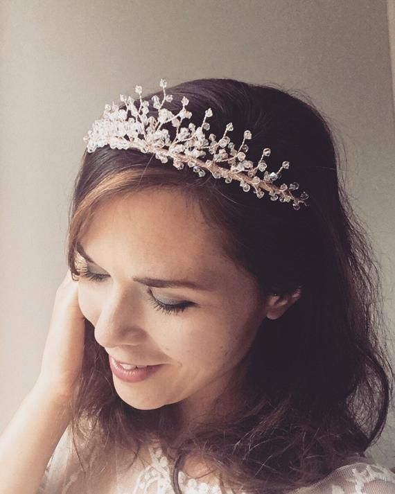 Rose gold bridal tiara, rosegold