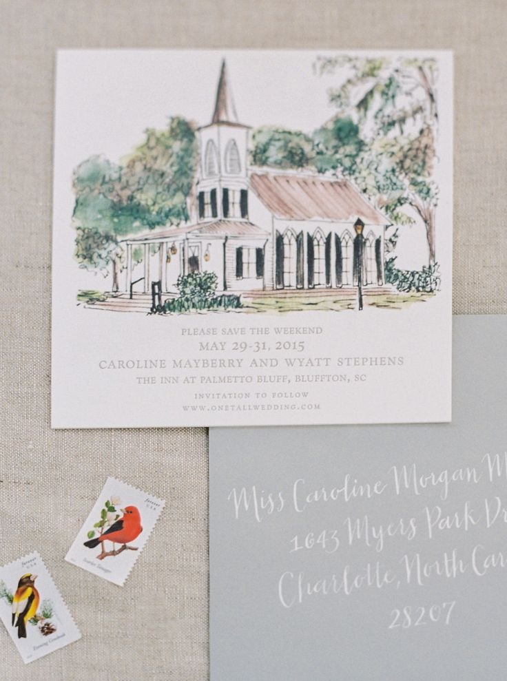 Tara Guerard Soiree by Perry Vaile Hand illustrated wedding invitations; Palmetto Bluff