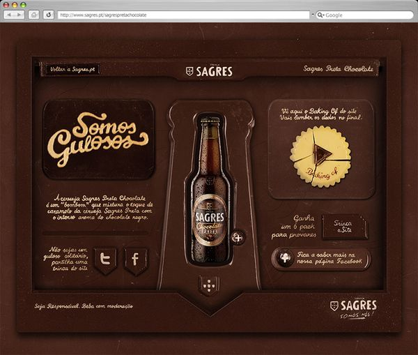 A site made out of chocolate  Sagres is Portugal's no 1 beer brand.