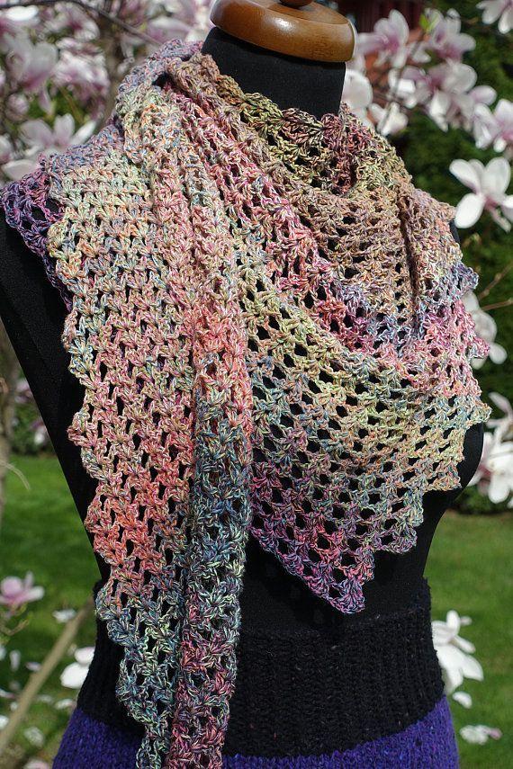 Cotton Crochet Baktus Triangle Scarf Knit Neckerchief Women Etsy Crochet Triangle Scarf Triangle Scarf Cotton Crochet