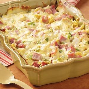 Ham & Swiss Cassesrole. Noodles, cubed ham, swiss cheese, green peppers, sour cream, and onion. Delicious, and easy to boot!