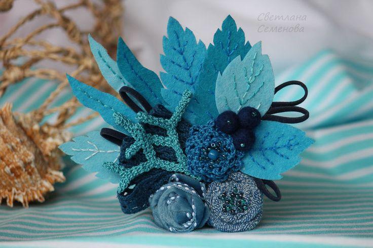 Купить Брошь Букет Морская Бирюза - бирюзовый, лето 2015, голубой, цвет морской волны