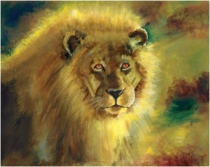 """Akiane Kramarik,  Strength  age 7 (oil on canvas 30""""x 40"""") I wanted to show the strength of a new lion that i envisioned in the new earth. No longer does he need to kill, so he will feed his family. He needs to be who he is, gentle and strong. His strength, gentleness and love is in his eyes. I painted the reflection of his cubs in his bright irises to show he must be strong for them."""