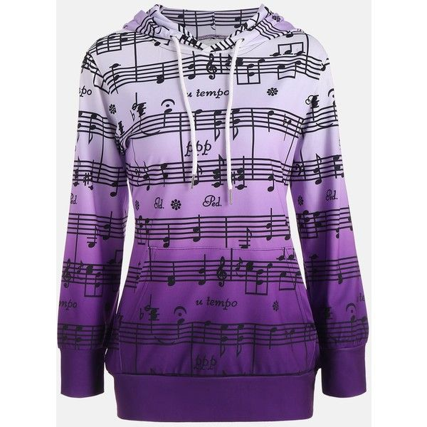 Musical Notes Printed Ombre Kangaroo Hoodie ($15) ❤ liked on Polyvore featuring tops, hoodies, purple hooded sweatshirt, hooded sweatshirt, ombre hoodie, hoodie top and purple hoodies