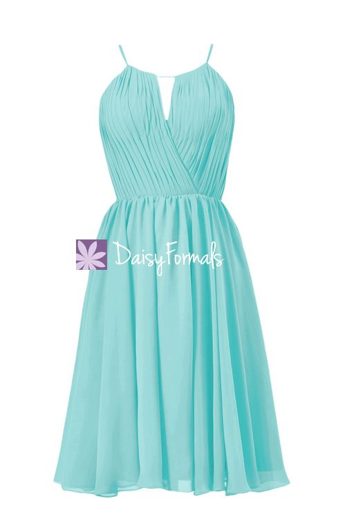 Tiffany's Inspired Bridesmaid Dress Short Beach Wedding Party Dress Knee Length Dress (BM10826S)