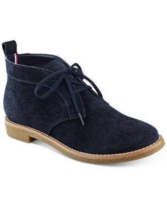 Tommy Hilfiger's Blaze oxford booties combine traditional tailoring with a hint of chukka style in a cool accent to a variety of looks. | Suede upper; manmade sole | Imported | Round closed-toe lace-u
