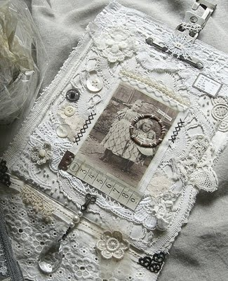 Altered Art in Shades of White - altered book