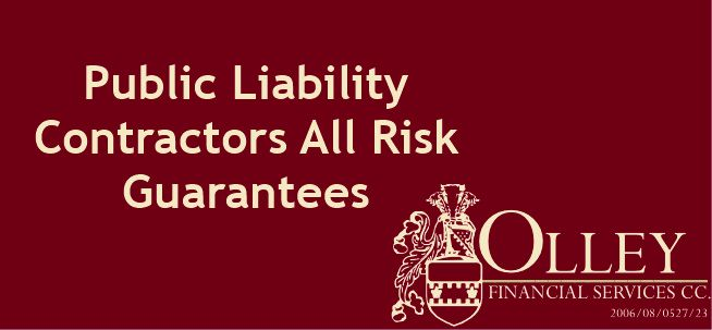Assisting our construction and engineering clients regarding Public Liability, Contractor's All Risk and Guarantees. celri@olleyfin.co.za