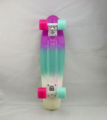 """Rainbow Penny Style Skateboards Board Complete 22"""", Pastel Fade-3 color(PBW)P+B"""