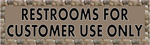 StickerTalk® Brand 10in x 3in Brown Restrooms for Customer Use Only Vinyl Vehicle Magnet Magnetic Sign Car Magnets