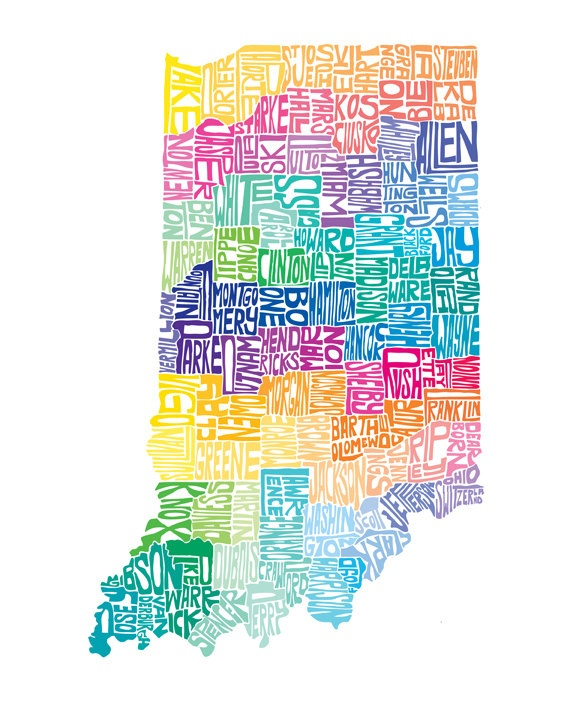 Indiana - typography map art print 5x7 - customizable state poster wall decor. $15.00, via Etsy.