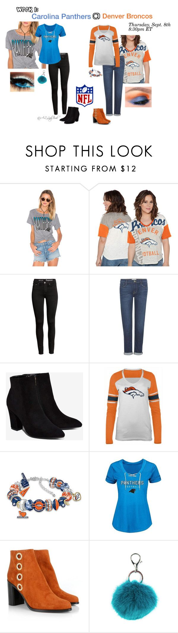 NFL Week 1: CAR @ DEN by arizonaladybirds on Polyvore featuring Junk Food Clothing, 5th & Ocean, Frame Denim, Billini, Chloé, The Bradford Exchange, Carole and Touch by Alyssa Milano