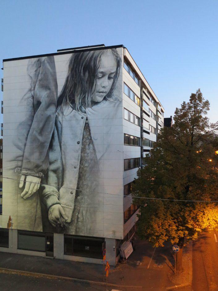 """mural """"Muistot Unelmien"""" (Remembering a Dream) painted by photorealistic artist Guido van Helten for UPEA16 with Katutaide in Helsinki, Finland. guidovanhelten.com"""