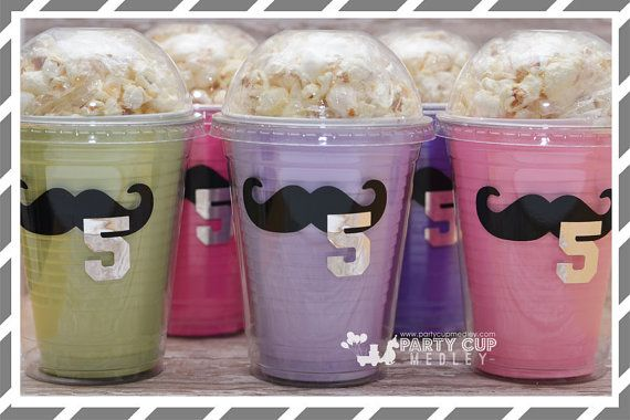 Mustache Party Favor Cups-Popcorn Favor Cups-Set by PartyCupMedley