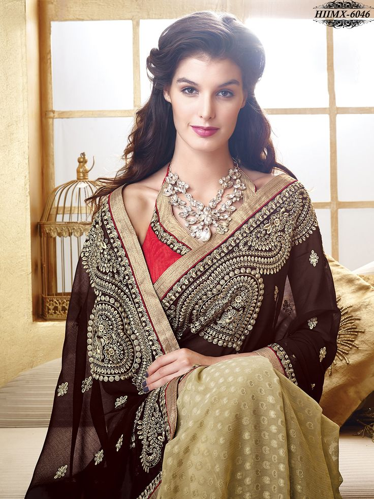 Beige & Brown Colour Faux Georgette Embroidery Saree With Unstitched Blouse Piece