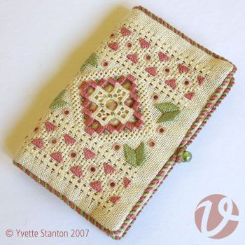 Hardanger needlecase pattern with detailed step-by-step instructions and accompanying diagrams. Traditional style design interpreted in contemporary colour.