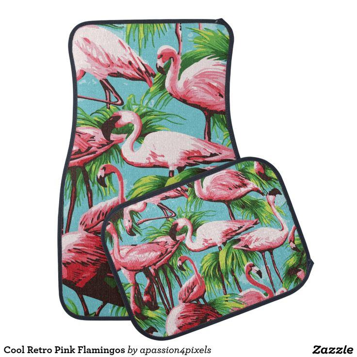 Cool Retro Pink Flamingos Floor Mat Artwork Designed By