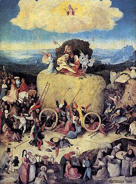 """Le Chariot de foin de Jérôme Bosch 1501-02, Le Prado, Madrid (une autre version est à l'Escurial) - Les motifs du Malin se retrouvent dans le Char de foin S'inspirant du proverbe flamand """"le monde est un monceau de foin; chacun en prend ce qu'il peut"""", l'artiste représente en une série de variations  le démon qui, par ses mirages, entraîne l'humanité dans une folle course du paradis terrestre à l'enfer sous le regard douloureux du Christ."""