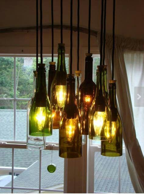 Wine bottle chandalier/lighting - put flameless  tea lights inside