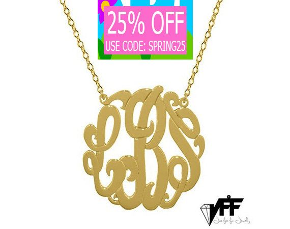 Gold Monogram necklace  any initial gold by justforfundesign