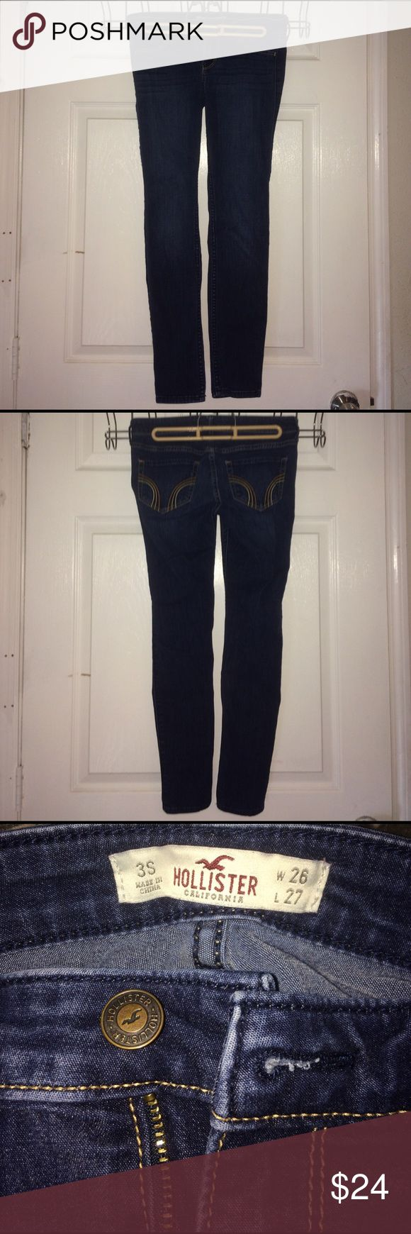 Hollister Women's Dark Wash Super Skinny Jeans These low-rise super skinny jeans from Hollister almost feel like jeggings! They are a great pair of dark wash jeans from Hollister. They have been worn multiple times, but are still in good shape! They are a size 3 Short. Hollister Pants Skinny