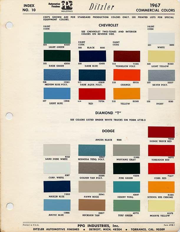 Auto paint codes paint code the 1947 present for Paint color chips