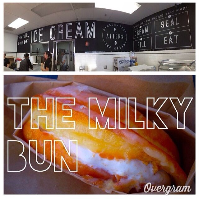 The Milky Bun, Ice Cream stuffed in a Glazed Donut at Afters Ice Cream. I can check this one off! Just had it after a great day at Disneyland :) and yes it's as good as it sounds