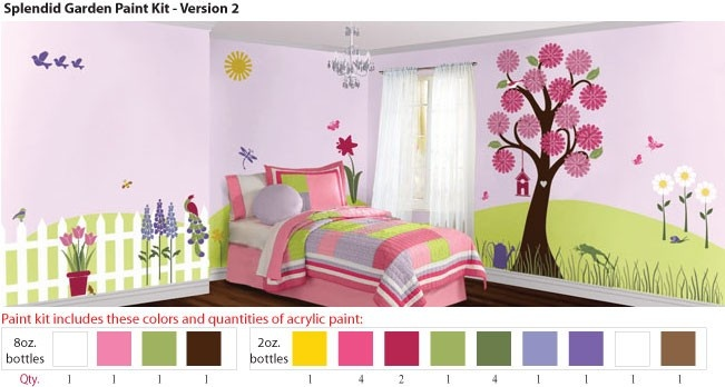 acrylic stencil paints for girls flower garden wall mural. Black Bedroom Furniture Sets. Home Design Ideas